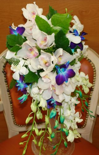 blue white orchid bouquet