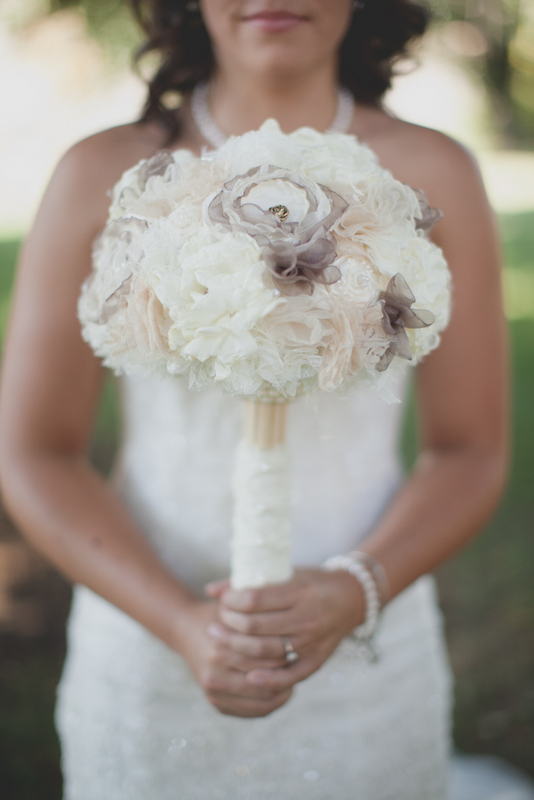 Custom hand-made fabric flower bouquet