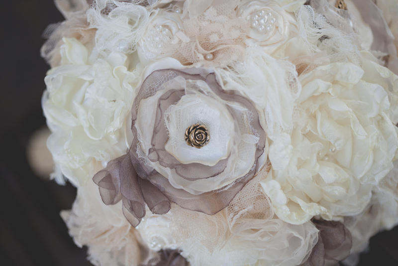 Custom hand-made fabric flower bouquet
