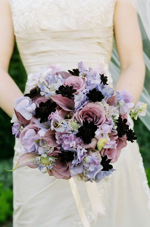Bridal bouquet of lavender roses sweet peas calla lilies scabiosa and chocolate cosmos - Flowers good luck bridal bouquet ...