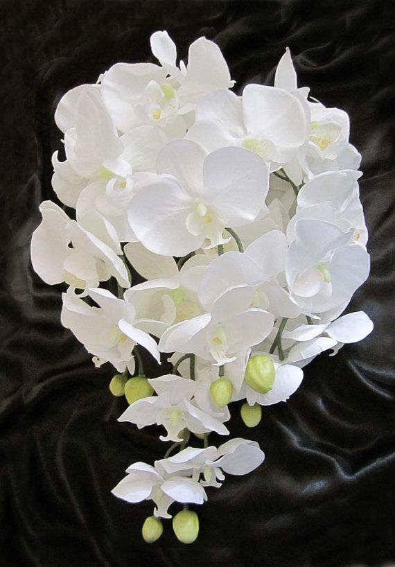 Cascading Teardrop White Phalaenopsis Orchid Bridal Bouquet