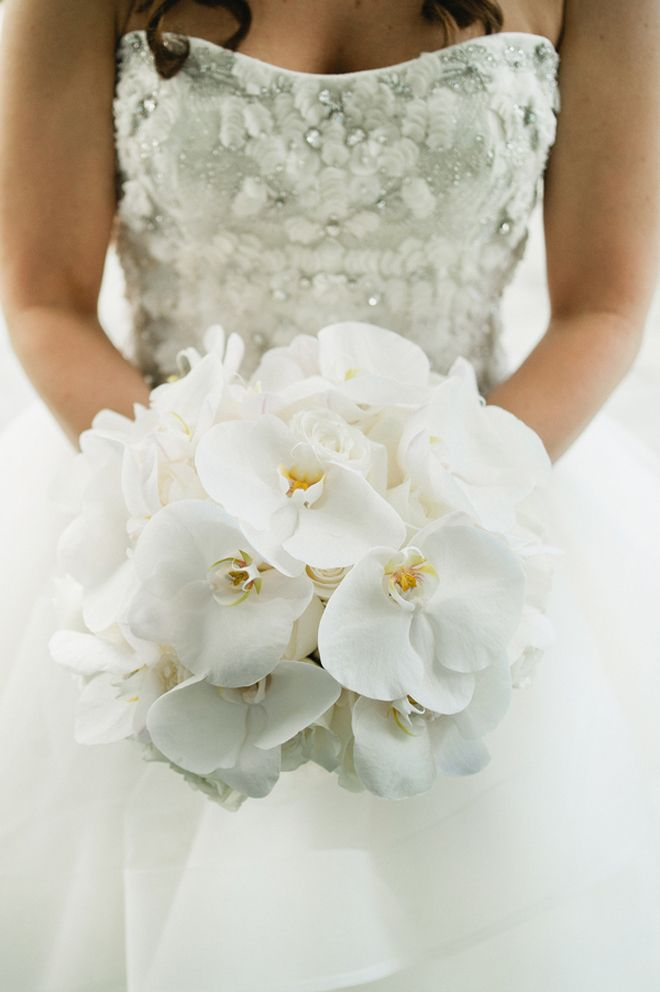 Elegant phalaenopsis orchid bridal bouquet. Photo by: Kate Connolly from Off BEET Productions.
