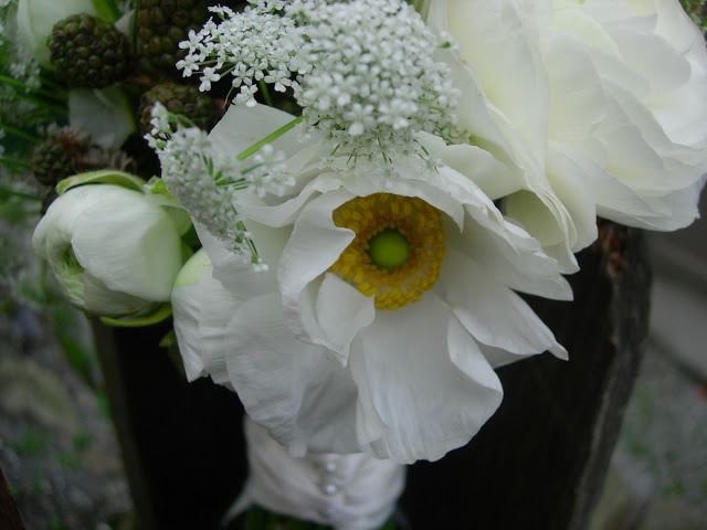 White Ranunculus, Blackberries, and Queen Anne's Lace Bouquet 2