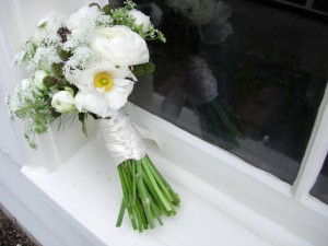 White Ranunculus, Blackberries, and Queen Anne's Lace Bouquet