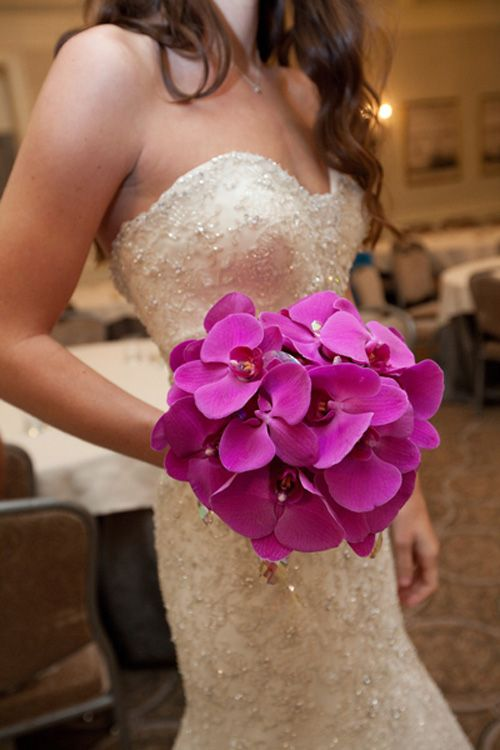 bright pink Phalaenopsis orchids bridal boquet