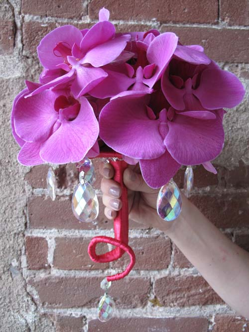 bright pink Phalaenopsis orchids bridal bouquet
