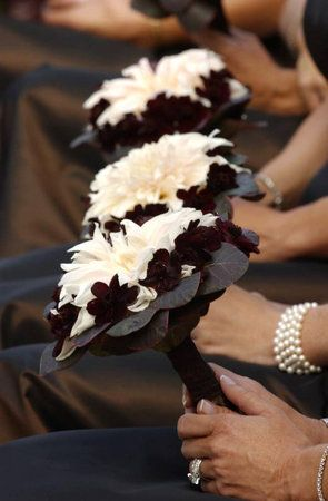chocolate cosmos bouquet for bridesmaids
