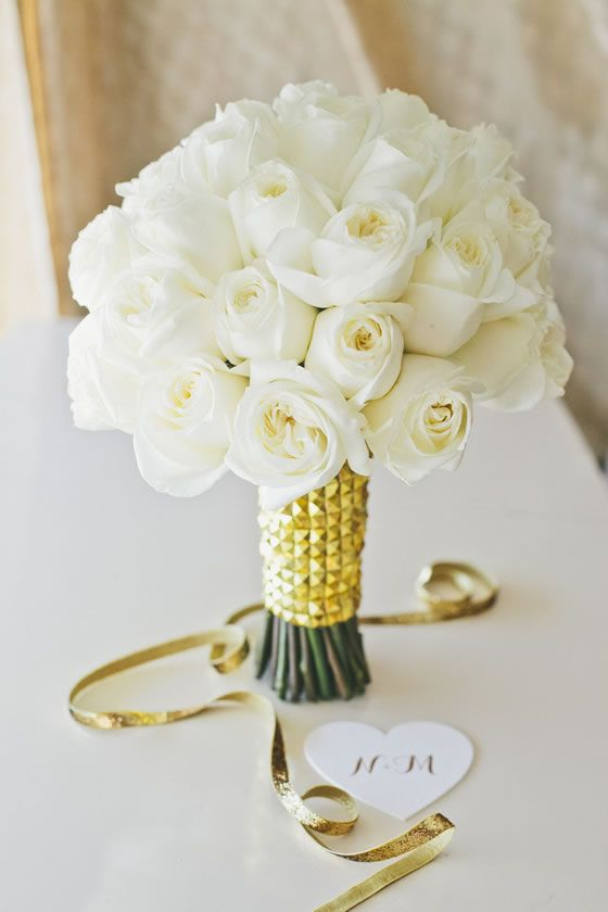 White Roses Only Bridal Bouquet