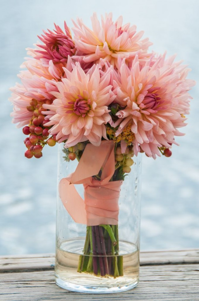 Coral Dahlia Wedding Bouquet