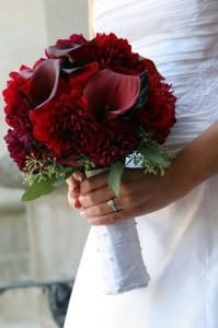 Red Bouquet with Roses, Dahlias and Calla Lilies