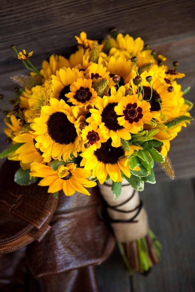 Rustic Wedding Yellow Sunflower Bouquet