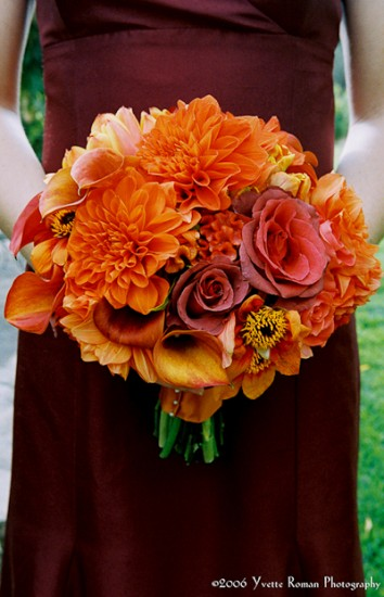 Warm Autumn Hued Bridesmaid Bouquets