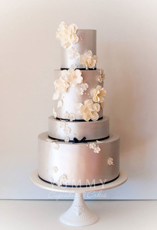 A silver black and white wedding cake