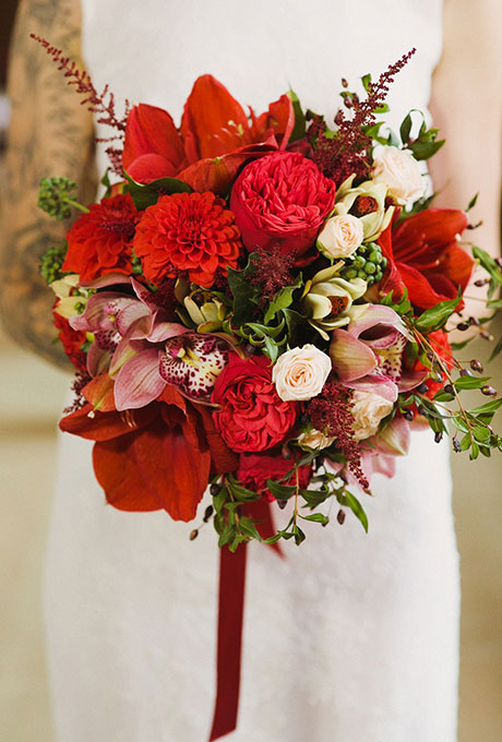 Bold Red Bridal Bouquet