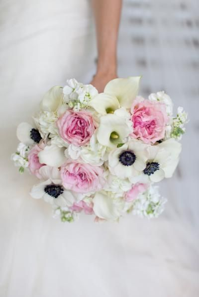 Bouquet with Anemones, Peonies and Calla Lilies