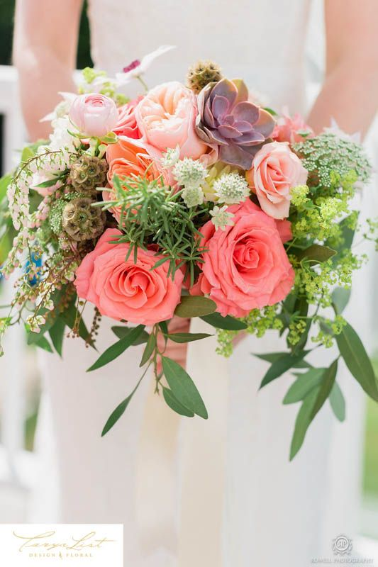 Bouquets of succulents, coral roses, clematis, scabiosa butterball, bay leaf and peach juliet garden roses