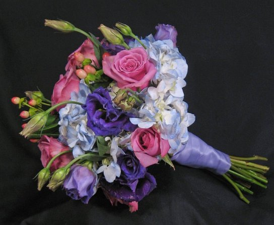 Bridal Bouquet in Pink and Purple Hues