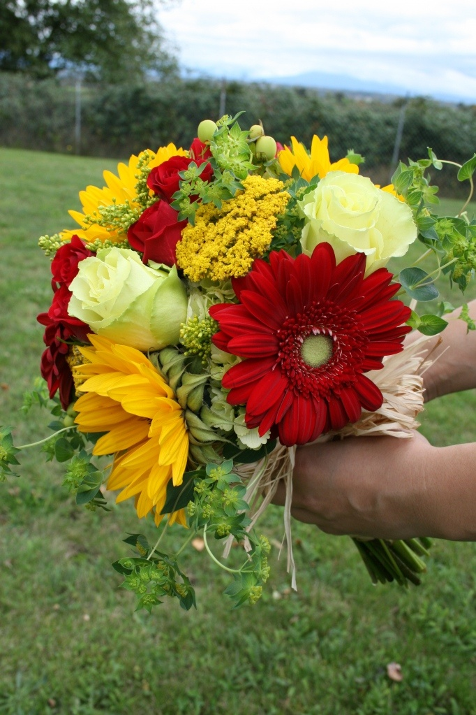Stunning Red, Yellow and Green Bridal Bouquet