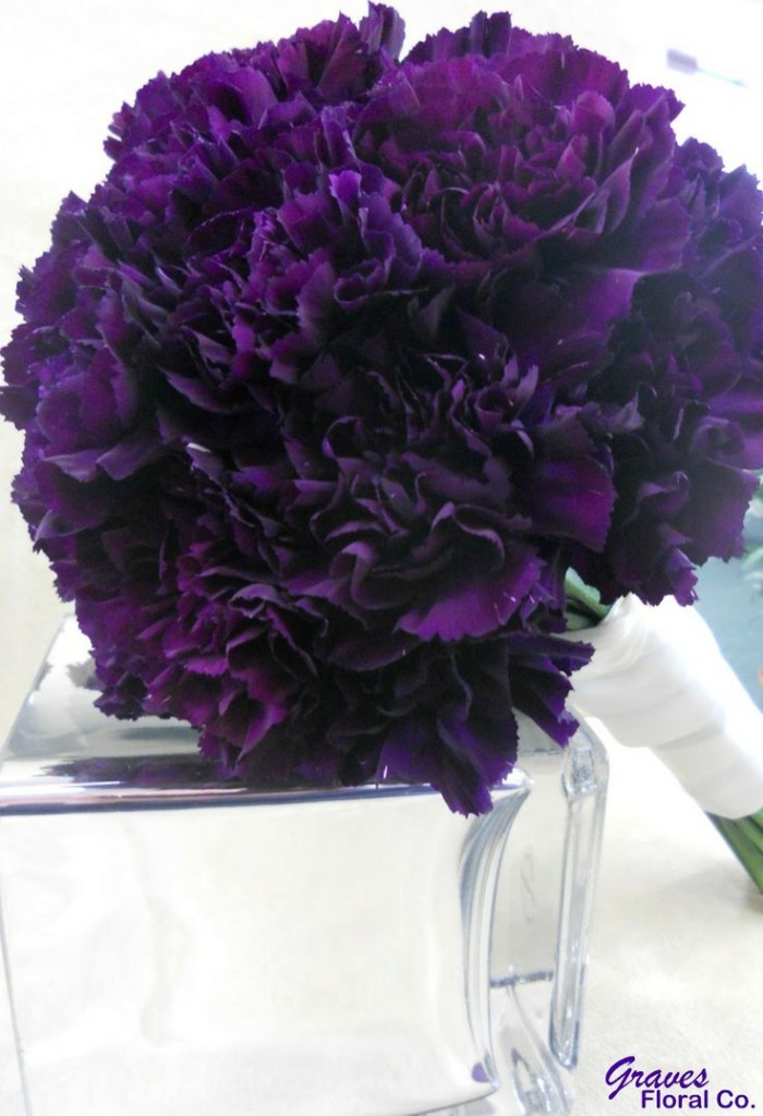 Dark purple carnation bouquet