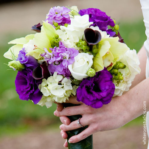 Green hydrangea with purple lisianthus, plum calla lilies, lavender stock, white roses and green cymbidium orchids