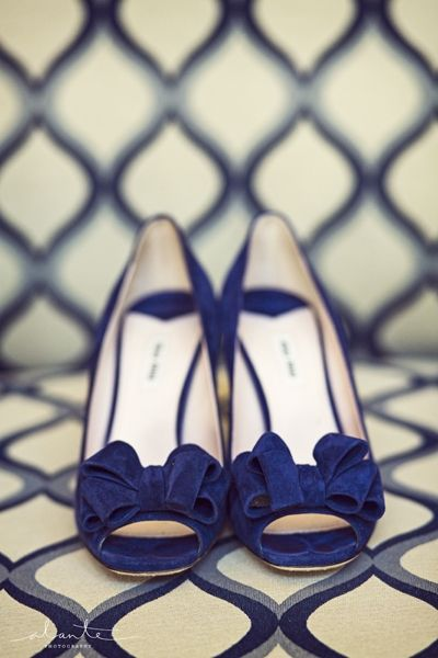 Navy Blue Shoes With A Bow