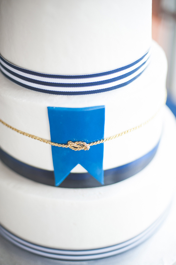 Navy Blue and White Nautical Themed Wedding Cake 1