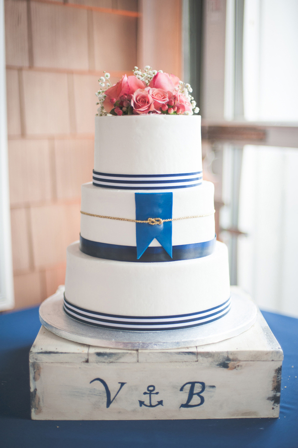 Navy Blue and White Nautical Themed Wedding Cake