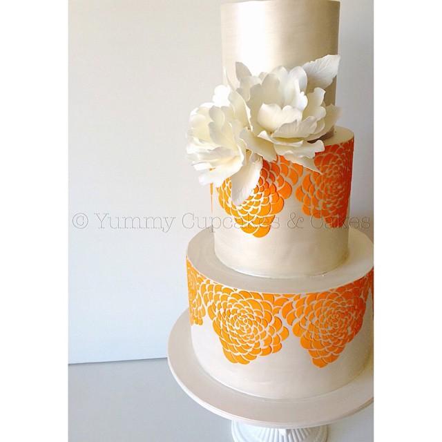 Orange Camellia Rose wedding cake