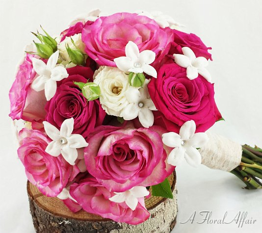 Pink Rose and White Stephanotis Wedding Bouquet
