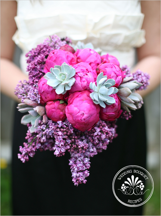 Purple Lilacs, Pink Peonies and Succlents Bouquet