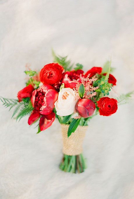 Red Bouquet of peonies and ranunculus