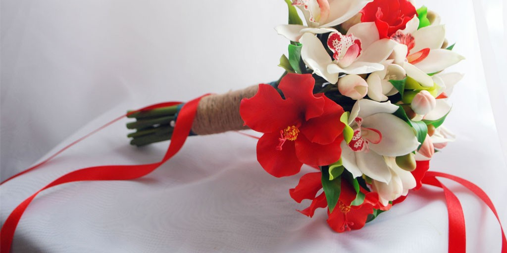 Red Hibiscus and White Orchid Brides Bouquet