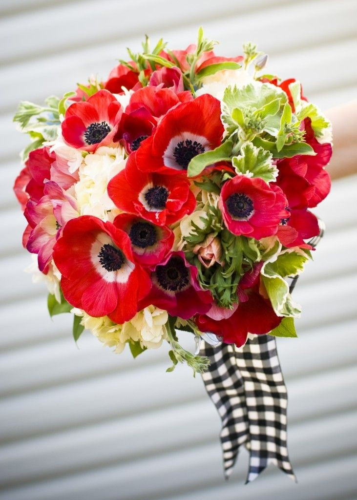 Red Poppies, Hydrangea, and Foliage Bouquet