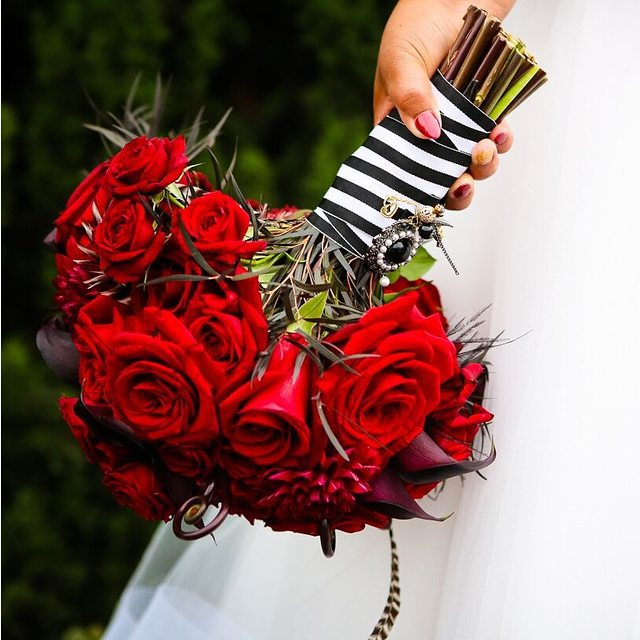 Red wedding ideas archives bouquet wedding flower red roses bouquet with striped ribbon mightylinksfo