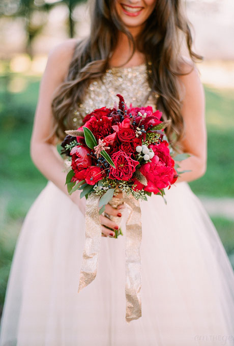 Red bouquet of peonies, garden roses, Annabelle roses, silver brunia berries