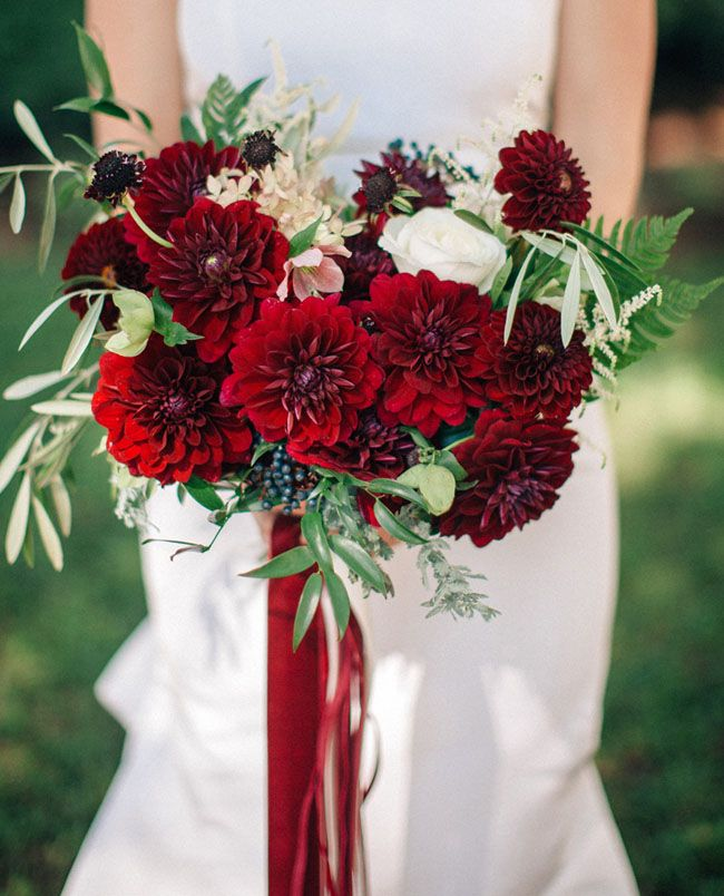 Red dahlia and olive branch bouquet