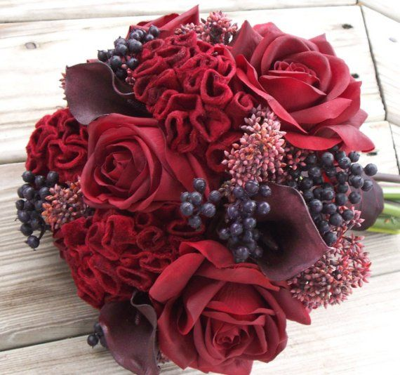 Red rose & coxcomb and berries bouquet