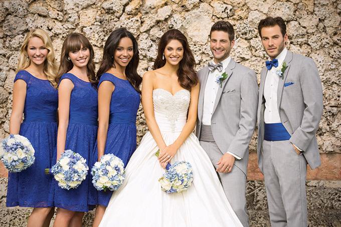 Royal blue and gray wedding party