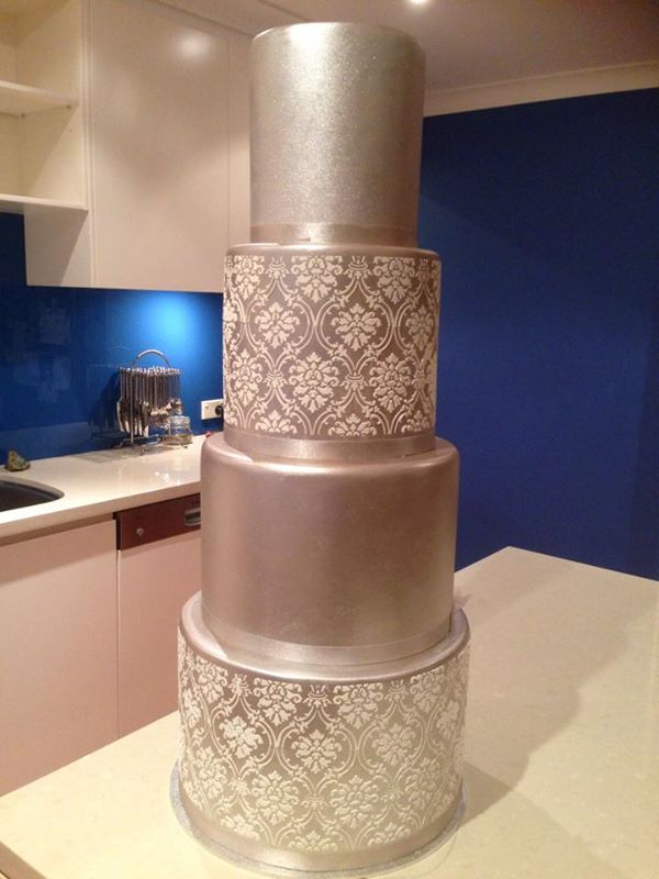 Soft metallic gold 83cm high wedding cake