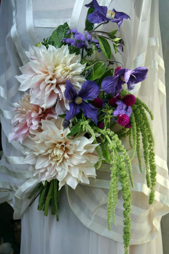 White Dahlias And Purple Clematic Bouquet
