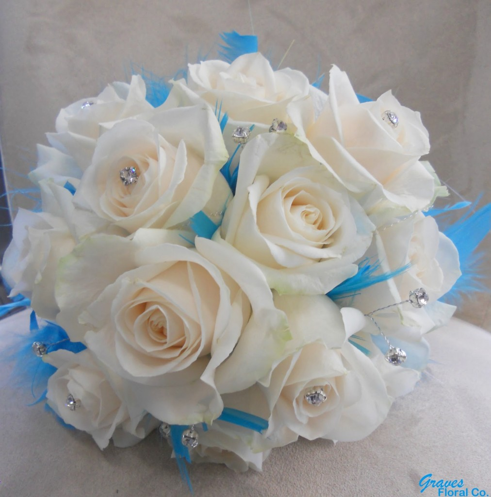White Roses Diamantes and Blue Feathers Bouquet