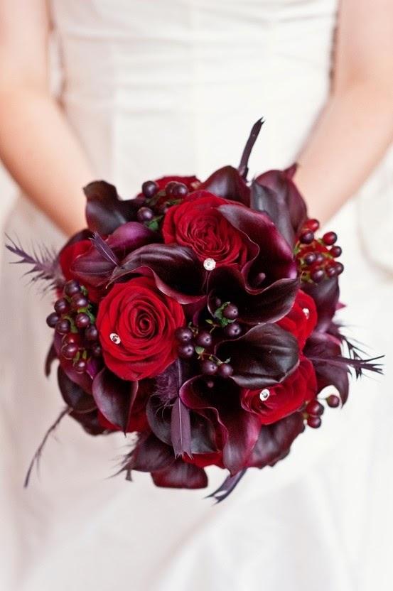 Wine Colored Bridal Bouquets 3