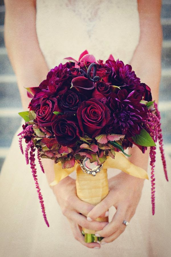 Bridal Bouquet With Color : Wine colored bridal bouquets bouquet wedding flower