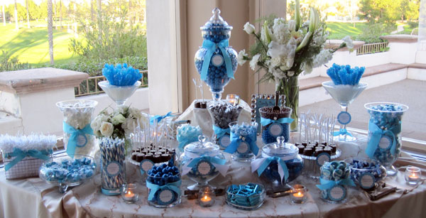 Blue, Sky Blue And White Candy Buffets