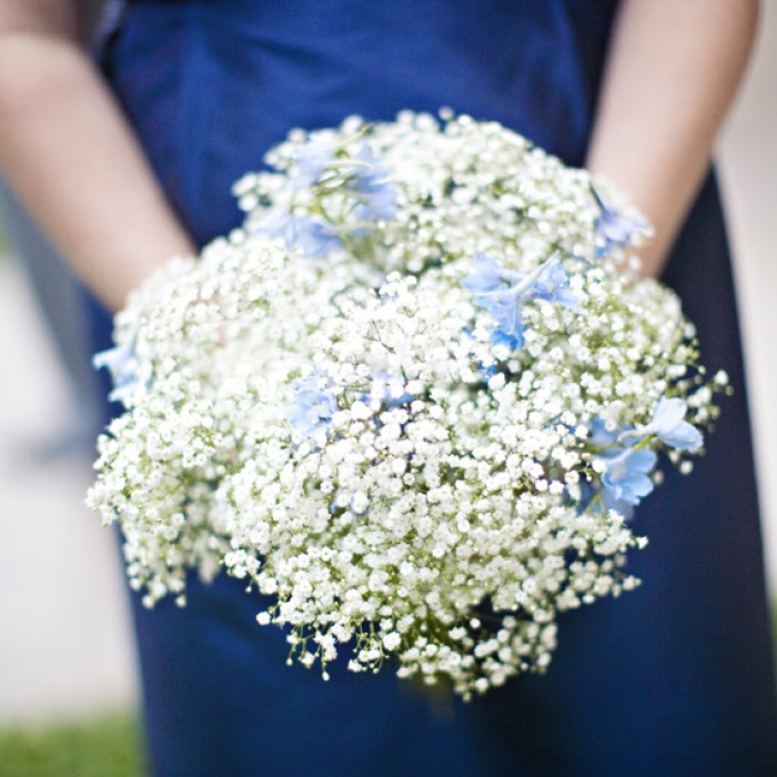 blue bridesmaid dress and boquuet