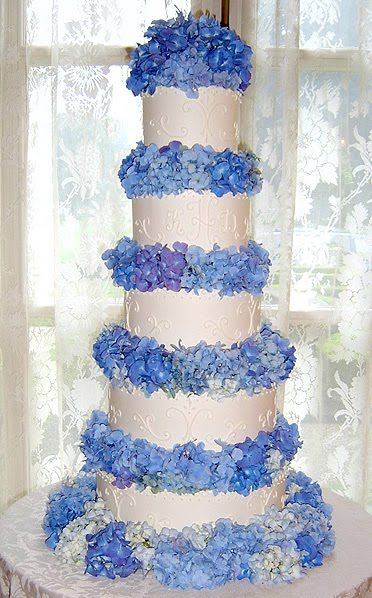 Blue Hydrangeas Wedding Cake