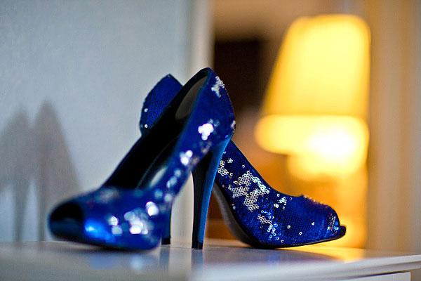 Blue sequined bridal heels
