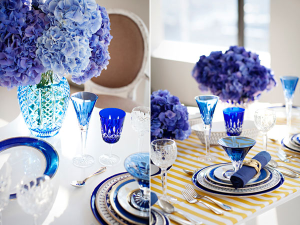 Blue Hydrangea and Blue Crystal Wedding Table Setting Idea
