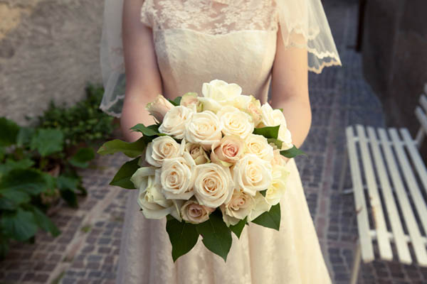 Creamy white roses bridal bouquet