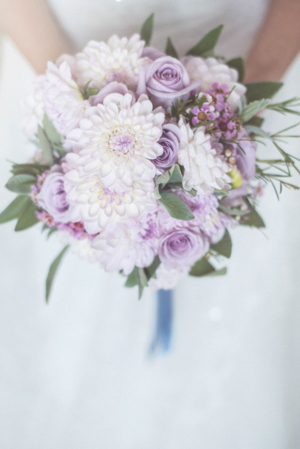 lavender roses and dahlias bridal bouquet